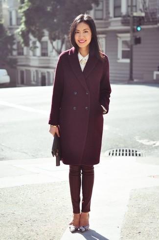 How to wear: burgundy coat, white dress shirt, burgundy leather skinny pants, grey snake leather pumps