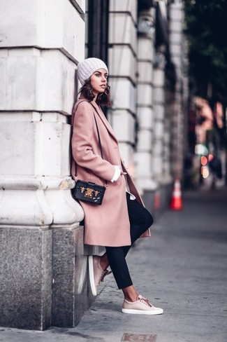 How to wear: pink coat, white dress shirt, black tapered pants, pink leather low top sneakers
