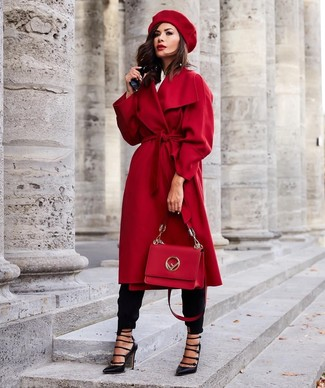 How to wear: red coat, white dress shirt, black tapered pants, black cutout leather pumps