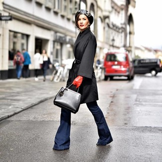 How to wear: black coat, navy flare jeans, black leather ankle boots, black leather tote bag