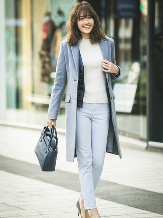 How to wear: grey coat, navy gilet, white turtleneck, light blue skinny pants