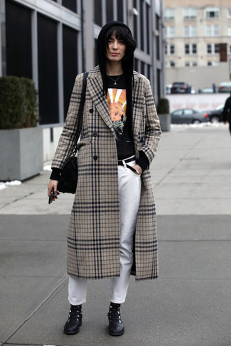 How to wear: beige plaid coat, black hoodie, black print crew-neck t-shirt, white jeans