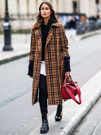 How to wear: camel plaid coat, black hoodie, white dress shirt, black skinny pants