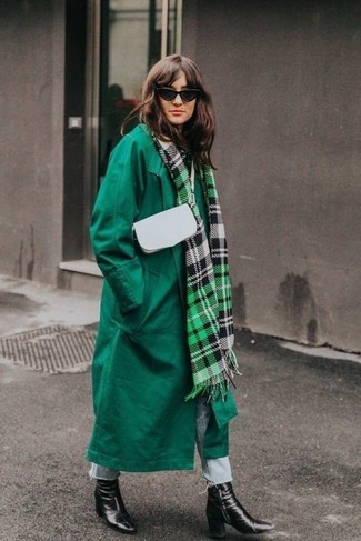 How to wear: green coat, light blue jeans, black leather ankle boots, white leather crossbody bag