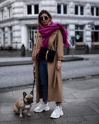 How to wear: camel coat, blue jeans, white athletic shoes, black suede satchel bag