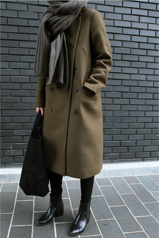 How to wear: olive coat, black leggings, black leather chelsea boots, black suede tote bag