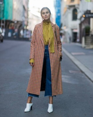 How to wear: orange check coat, yellow polka dot long sleeve blouse, blue denim culottes, white leather mules