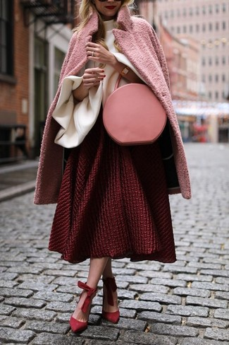 How to wear: pink coat, white ruffle long sleeve blouse, red textured full skirt, red suede pumps