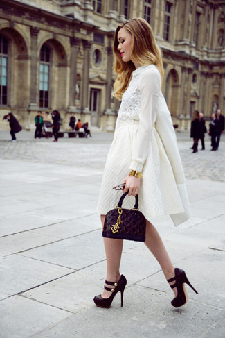 How to wear: white coat, white lace long sleeve blouse, white full skirt, black chunky suede pumps