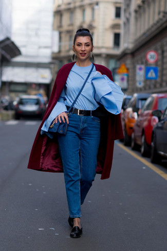 How to wear: burgundy coat, light blue long sleeve blouse, blue jeans, black leather loafers