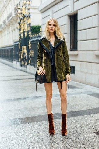Black Mini Skirt Outfits: For a neat and relaxed ensemble, wear an olive corduroy coat and a black mini skirt — these items work perfectly well together. Why not take a more refined approach with footwear and complement this getup with a pair of tobacco velvet ankle boots?