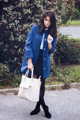 How to wear: blue coat, light blue long sleeve blouse, black mini skirt, black suede ballerina shoes