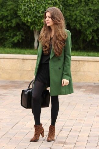 This combination of a green coat and a black pleated mini skirt is perfect for off-duty occasions. Add brown animal suede ankle boots to your look for an instant style upgrade.