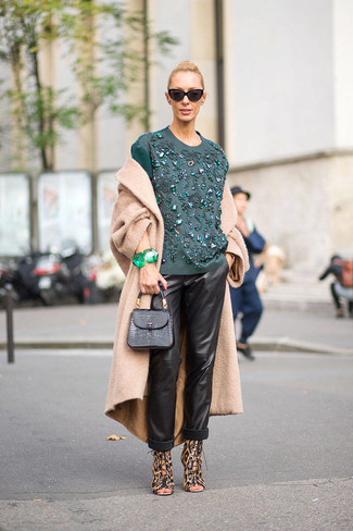 How to wear: camel coat, teal embroidered long sleeve blouse, black leather pajama pants, brown leopard leather heeled sandals