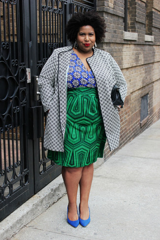 Women's White and Black Print Coat, Blue Print Long Sleeve Blouse, Green Print Pencil Skirt, Blue Suede Pumps
