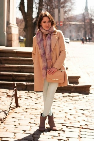 The combo of a beige coat and a pink print scarf makes this a really put together look. As for the shoes, grab a pair of grey suede ankle boots. It goes without saying that this one makes for a great, spring-appropriate combination.