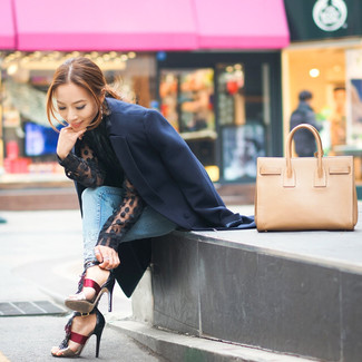 If it's comfort and practicality that you're looking for in an outfit, choose a black polka dot chiffon long sleeve blouse and light blue skinny jeans. Choose a pair of burgundy leather heeled sandals to va-va-voom your outfit. Rest assured, this outfit is the answer to all of your transitional style woes.