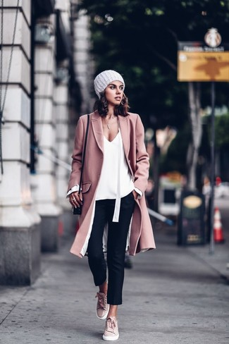 How to wear: pink coat, white long sleeve blouse, black skinny pants, pink suede low top sneakers