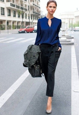 How to wear: charcoal coat, navy long sleeve blouse, black tapered pants, grey snake leather pumps