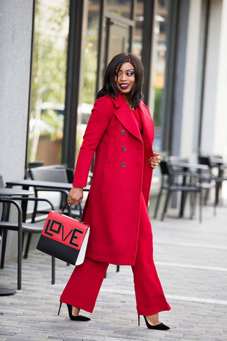 How to wear: red coat, red long sleeve blouse, red wide leg pants, black suede pumps