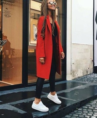 How to wear: red coat, black long sleeve t-shirt, black leather leggings, white leather low top sneakers