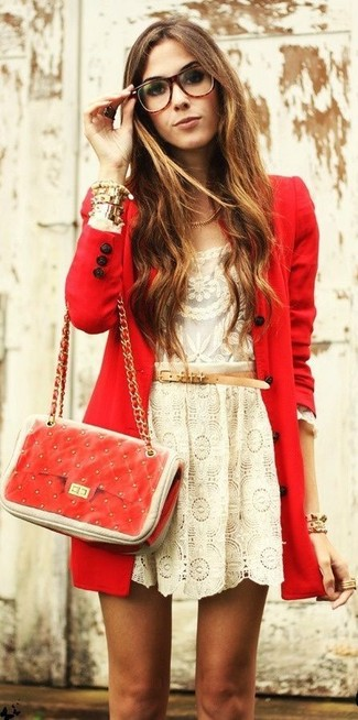 A red coat and a beige lace skater skirt feel perfectly suited for weekend activities of all kinds.