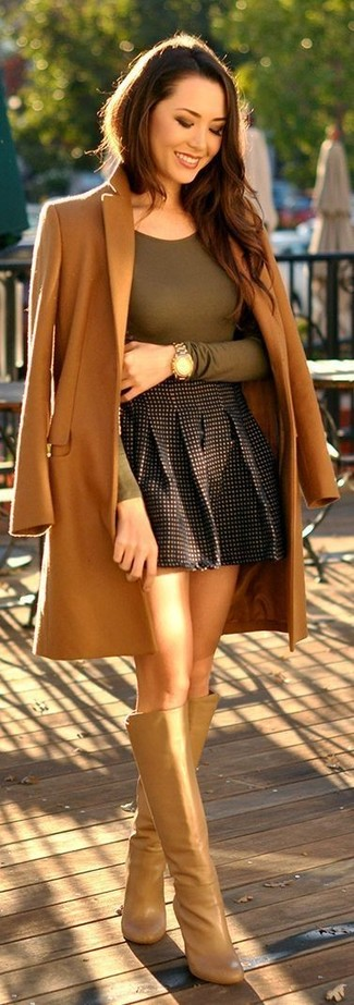 How to wear: camel coat, olive long sleeve t-shirt, black check skater skirt, tan leather knee high boots