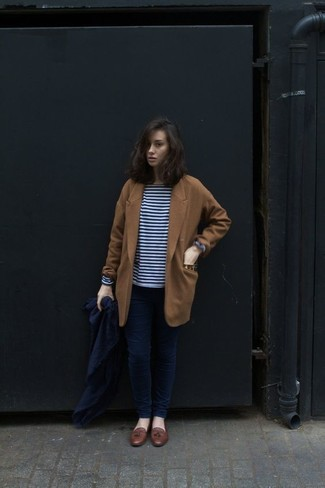 How to wear: tobacco coat, navy and white horizontal striped long sleeve t-shirt, navy skinny jeans, brown leather tassel loafers