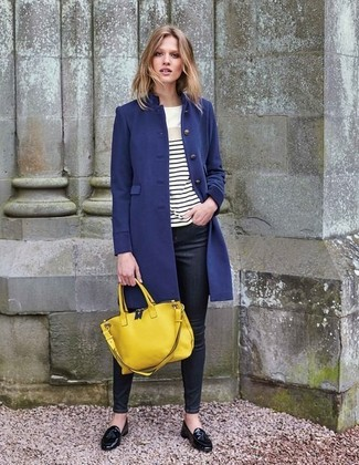 How to wear: navy coat, white and black horizontal striped long sleeve t-shirt, black skinny jeans, black leather tassel loafers