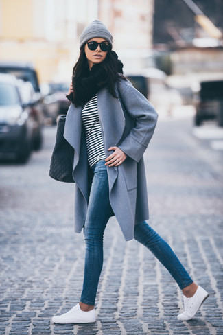 Women's Grey Coat, Black and White Horizontal Striped Long Sleeve T-shirt, Blue Skinny Jeans, White Low Top Sneakers