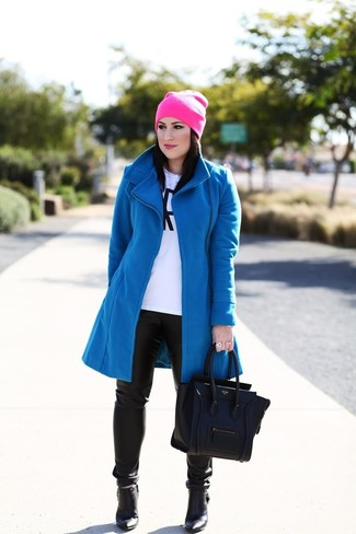 How to wear: blue coat, white and black print long sleeve t-shirt, black leather skinny pants, black leather ankle boots