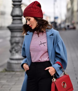 How to wear: blue coat, red horizontal striped long sleeve t-shirt, black skinny pants, red leather satchel bag
