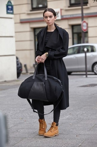 Reach for a black long sleeve t-shirt and black leather fitted pants for a stylish office ensemble. For a more relaxed take, make camel suede flat boots your footwear choice.