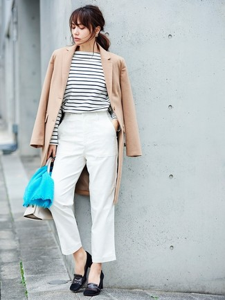 How to wear: beige coat, white and black horizontal striped long sleeve t-shirt, white tapered pants, black suede pumps