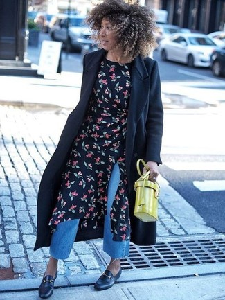 How to wear: black coat, black floral midi dress, blue denim culottes, black leather loafers