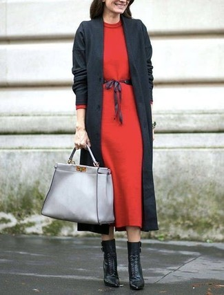 How to wear: charcoal coat, red wool midi dress, black leather lace-up ankle boots, grey leather tote bag