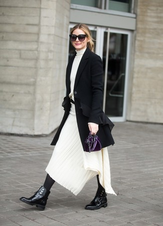 How to wear: black coat, white knit midi dress, black leather lace-up flat boots, dark purple velvet clutch
