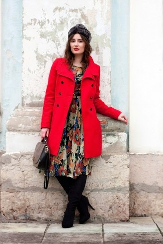 How to wear: red coat, black floral chiffon midi dress, black suede over the knee boots, grey leather satchel bag
