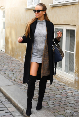 How to wear: black coat, brown open cardigan, grey wool bodycon dress, black suede over the knee boots