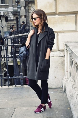 How to wear: charcoal coat, black overalls, purple low top sneakers, black leather crossbody bag