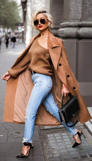 Women's Brown Coat, Brown Oversized Sweater, Light Blue Ripped Boyfriend Jeans, Black Leather Heeled Sandals