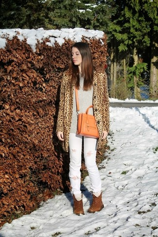 Leopard Printed Flared Coat