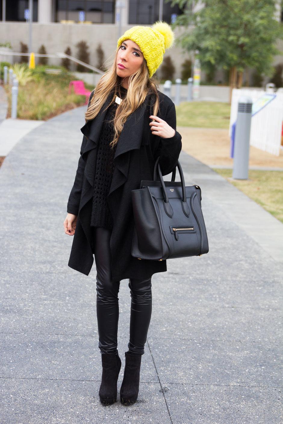 Womens Black Coat Black Knit Oversized Sweater Black Leather