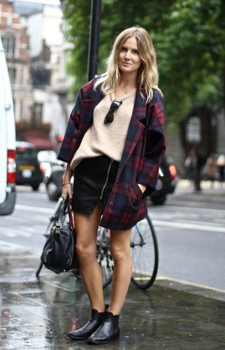 Sequin Plaid Double Breasted Coat