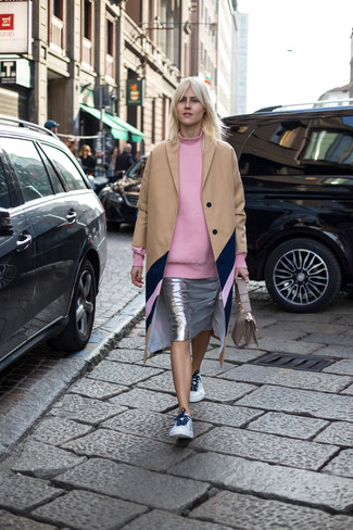 How to wear: camel coat, pink oversized sweater, silver pencil skirt, white leather low top sneakers