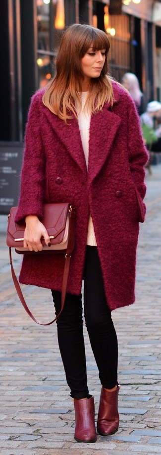 Women's Red Coat, White Oversized Sweater, Black Skinny Jeans, Red Leather Ankle Boots