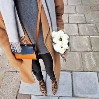 Pair a tan coat with black leather fitted pants and you'll be the picture of elegance. Finish off your look with tan leopard suede ankle boots.