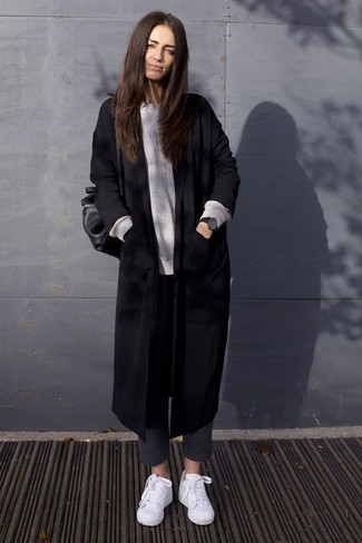 How to wear: black coat, grey oversized sweater, charcoal wool skinny pants, white low top sneakers