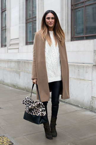 How to wear: camel coat, white knit oversized sweater, black leather skinny pants, black suede ankle boots