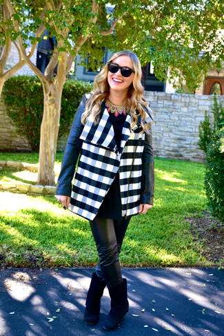 How to wear: white and navy check coat, black peplum top, black leather skinny pants, black suede mid-calf boots